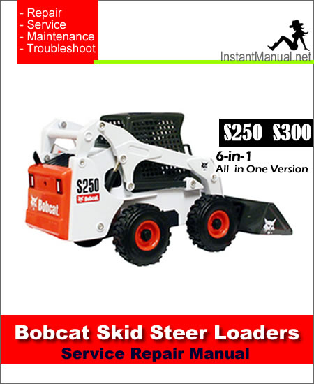 Bobcat S250 S300 Skid Steer Loader Service Repair Manual 6-in-1