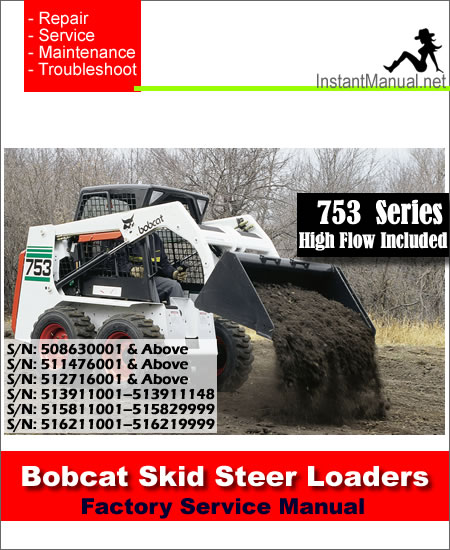Bobcat 753 Skid Steer Loader Service Manual 508630001-516211001