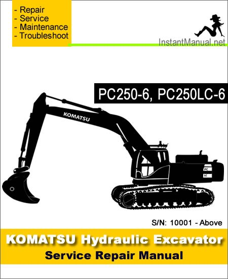 komatsu pc250 6 pc250lc 6 hydraulic excavator service. Black Bedroom Furniture Sets. Home Design Ideas