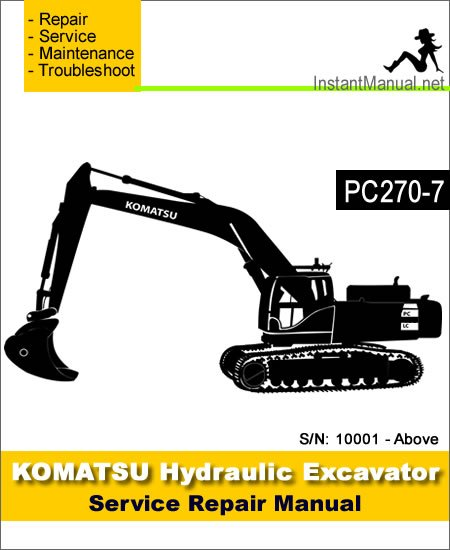 komatsu pc270 7 hydraulic excavator service repair manual. Black Bedroom Furniture Sets. Home Design Ideas
