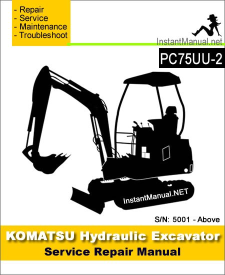 Komatsu PC75UU-2 Mini Excavator Service Repair Manual SN 5001-Up