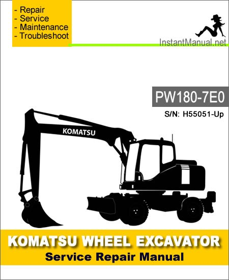 Komatsu PW180-7E0 Wheel Excavator Service Repair Manual SN H55051-Up