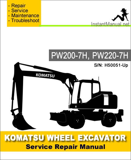 Komatsu PW200-7H PW220-7H Wheel Excavator Service Repair Manual SN H50051-Up