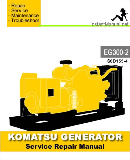 Komatsu Generator EG300-2 Engine 2001-Up Service Repair Manual SN S6D155-4