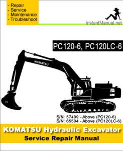 komatsu pc120 6 pc120lc 6 hydraulic excavator service. Black Bedroom Furniture Sets. Home Design Ideas